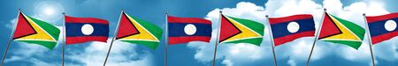Guyana flag with Laos flag, 3D rendering Stock Photo