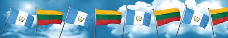 guatemalan: guatemala flag with Lithuania flag, 3D rendering Stock Photo