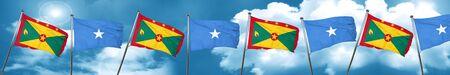 Grenada flag with Somalia flag, 3D rendering