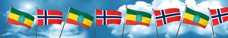 norway flag: Ethiopia flag with Norway flag, 3D rendering