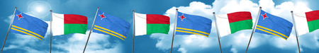 combines: aruba flag with Madagascar flag, 3D rendering Foto de archivo