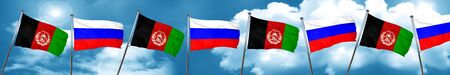 Afghanistan flag with Russia flag, 3D rendering Stock Photo