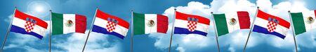 bandera de croacia: croatia flag with Mexico flag, 3D rendering Foto de archivo
