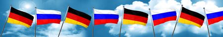 German flag with Russia flag, 3D rendering Stock Photo