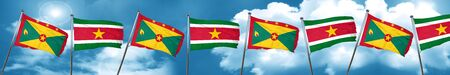 Grenada flag with Suriname flag, 3D rendering