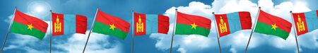 Burkina Faso flag with Mongolia flag, 3D rendering