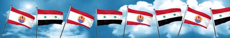 french culture: french polynesia flag with Syria flag, 3D rendering