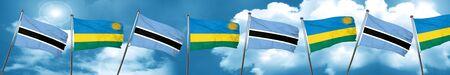 botswana: Botswana flag with rwanda flag, 3D rendering Stock Photo