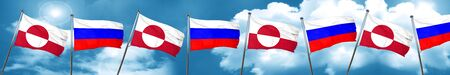 greenland flag with Russia flag, 3D rendering Stock Photo