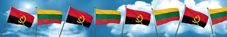 Angola flag with Lithuania flag, 3D rendering