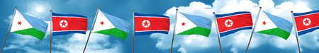 Djibouti flag with North Korea flag, 3D rendering