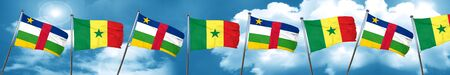 Central african republic flag with Senegal flag, 3D rendering Stock Photo