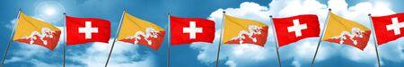 combines: Bhutan flag with Switzerland flag, 3D rendering