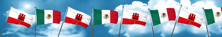 gibraltar flag with Mexico flag, 3D rendering