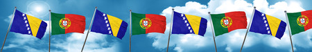 portugese: Bosnia and Herzegovina flag with Portugal flag, 3D rendering Stock Photo