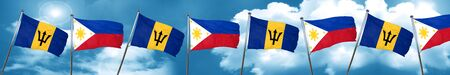 philippino: Barbados flag with Philippines flag, 3D rendering Stock Photo