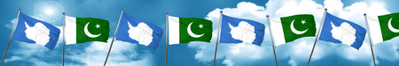 flag of pakistan: antarctica flag with Pakistan flag, 3D rendering