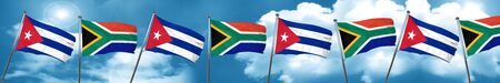 cuban culture: Cuba flag with South Africa flag, 3D rendering