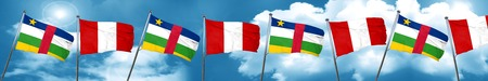 Central african republic flag with Peru flag, 3D rendering Stock Photo