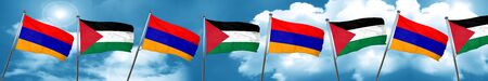 Armenia flag with Palestine flag, 3D rendering