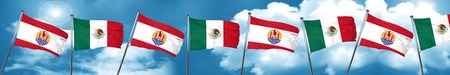 french culture: french polynesia flag with Mexico flag, 3D rendering Stock Photo