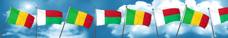 Mali flag with Madagascar flag, 3D rendering