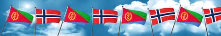Eritrea flag with Norway flag, 3D rendering