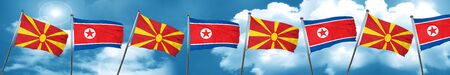 Macedonia flag with North Korea flag, 3D rendering Stock Photo