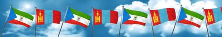 Equatorial guinea flag with Mongolia flag, 3D rendering