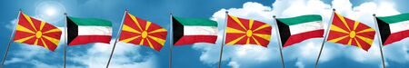 Macedonia flag with Kuwait flag, 3D rendering Stock Photo