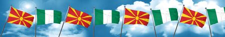 Macedonia flag with Nigeria flag, 3D rendering Stock Photo