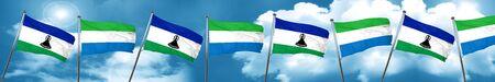 Lesotho flag with Sierra Leone flag, 3D rendering Stock Photo
