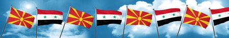 Macedonia flag with Syria flag, 3D rendering