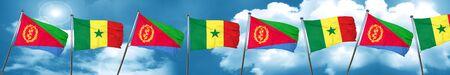 Eritrea flag with Senegal flag, 3D rendering Stock Photo