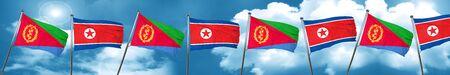 Eritrea flag with North Korea flag, 3D rendering