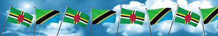 tanzania: Dominica flag with Tanzania flag, 3D rendering