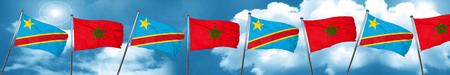Democratic republic of the congo flag with Morocco flag, 3D rendering