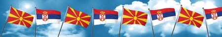 Macedonia flag with Serbia flag, 3D rendering