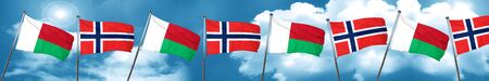 norway flag: Madagascar flag with Norway flag, 3D rendering