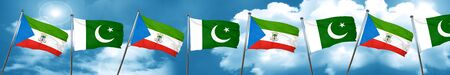 Equatorial guinea flag with Pakistan flag, 3D rendering Stock Photo