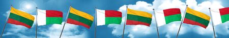 lithuania: Lithuania flag with Madagascar flag, 3D rendering