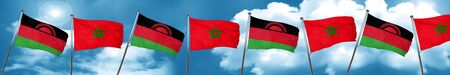 Malawi flag with Morocco flag, 3D rendering