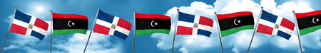 libya: dominican republic flag with Libya flag, 3D rendering