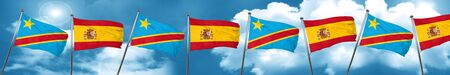 Democratic republic of the congo flag with Spain flag, 3D rendering