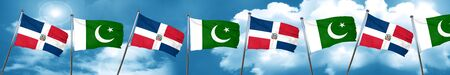 flag of pakistan: dominican republic flag with Pakistan flag, 3D rendering