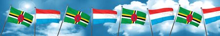 Dominica flag with Luxembourg flag, 3D rendering Stock Photo