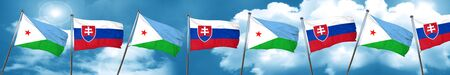 Djibouti flag with Slovakia flag, 3D rendering Stock Photo