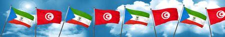 Equatorial guinea flag with Tunisia flag, 3D rendering Stock Photo