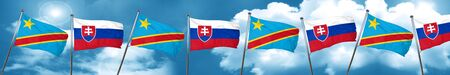 Democratic republic of the congo flag with Slovakia flag, 3D rendering