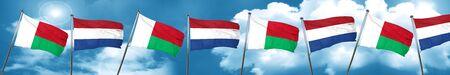 Bandera de Madagascar con bandera de los Países Bajos, 3D